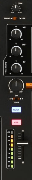 image of one channel on a mixer.